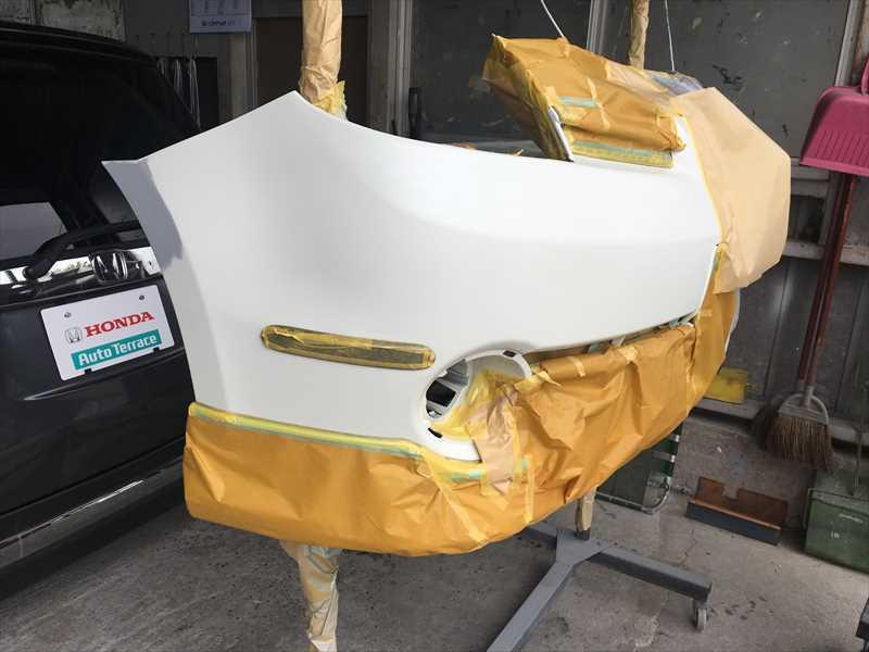 ノート バンパー修理、塗装後