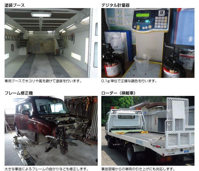 塗装ブース、デジタル計量器、フレーム修正機、ローダー(積載車)